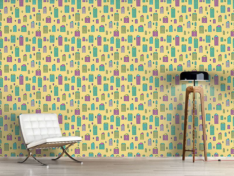 Pattern Wallpaper Doodle Houses