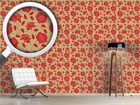 Pattern Wallpaper Briar Rose Red And Brown