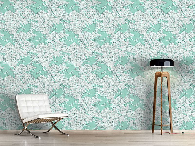 Pattern Wallpaper Vintage Flowers Mint