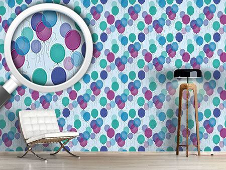 Pattern Wallpaper Blue Balloons