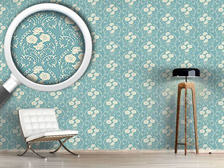 Pattern Wallpaper Rose Blue