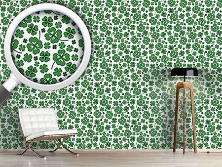 Pattern Wallpaper Lucky Clover White