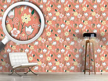Pattern Wallpaper Meadow In Apricot