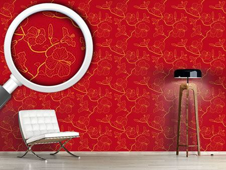 Pattern Wallpaper Hibiscusdream In Red