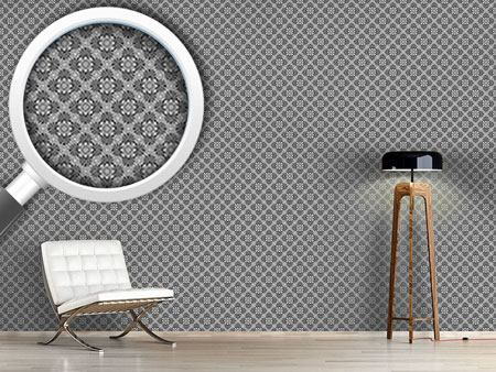 Pattern Wallpaper Bloom Grey
