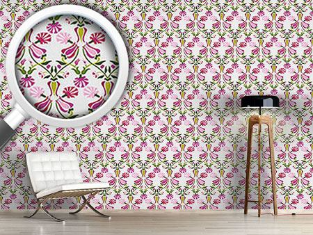 Pattern Wallpaper Tulips And Carnations Pink