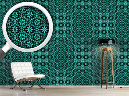 Pattern Wallpaper All Over Turquoise Flowers