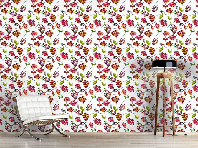 Papier peint design Flowers From Peru White
