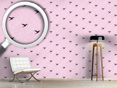 Pattern Wallpaper Violet Hummingbird