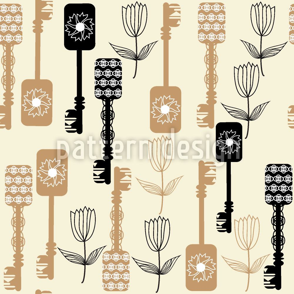 Pattern Wallpaper Keys And Flowers