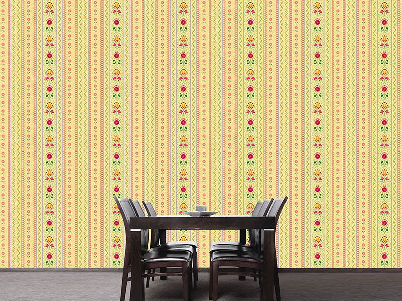 Pattern Wallpaper Florets and Tulips