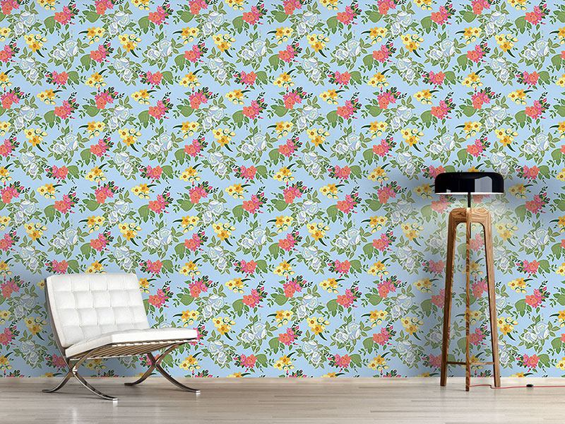 Pattern Wallpaper Mixed Bouquet