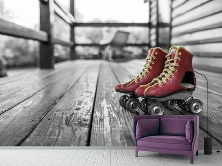Photo Wallpaper Retro roller skates