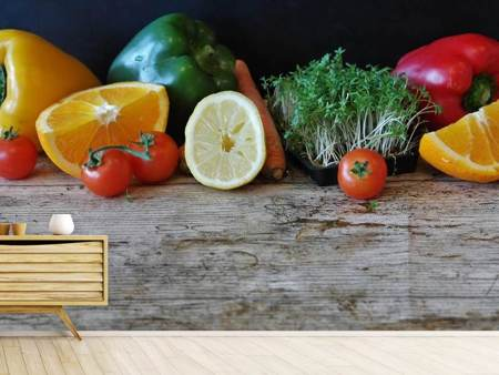 Fotobehang fruit and vegetables