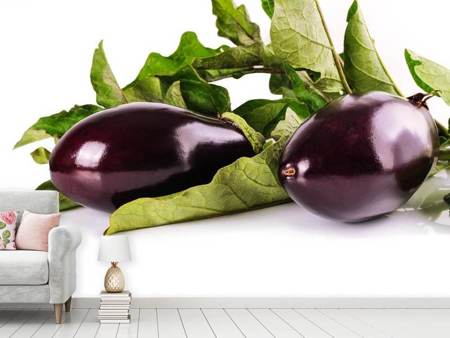Fotobehang Fresh eggplants