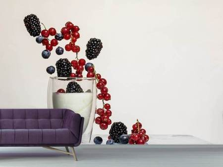 Photo Wallpaper Yogurt with berries