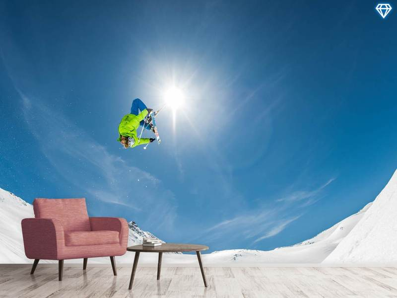 Fotobehang Backflip Crossed Skis