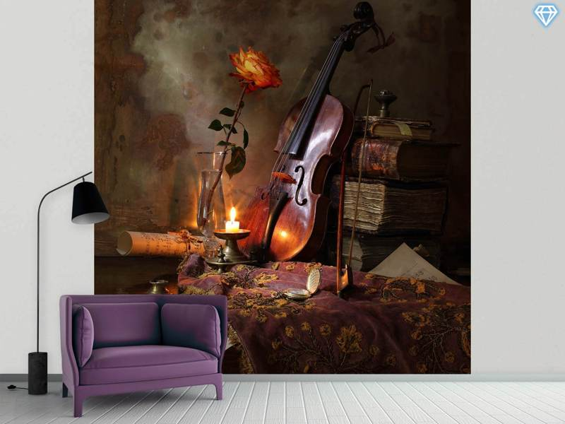 Fotobehang Still Life With Violin And Rose