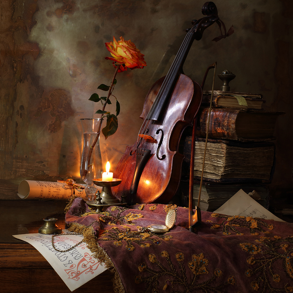 Photo Wallpaper Still Life With Violin And Rose