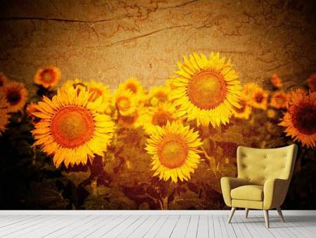 Fotobehang Retro Sunflower