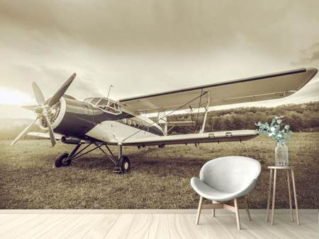 Photo Wallpaper Nostalgic Aircraft In Retro Style